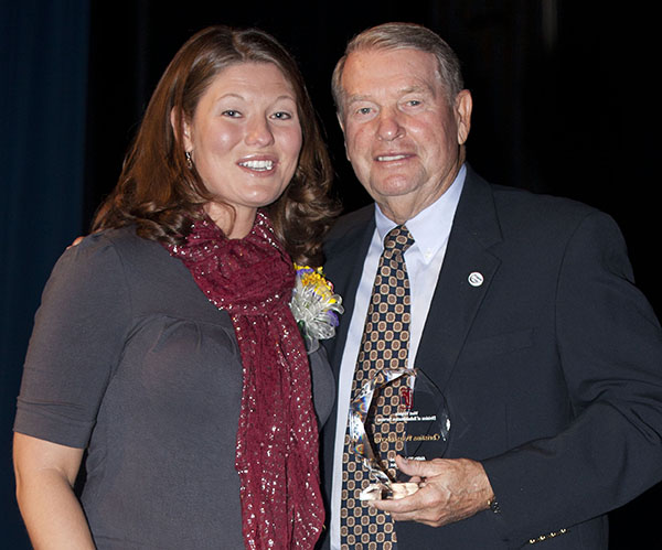 Christina Deusenberry with Don Nehlen
